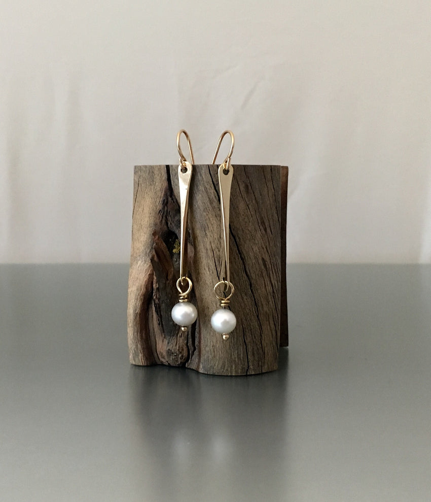 Bronze dangle earrings with Pearl - JACK BOYD ART STUDIO and RON BOYD DESIGNS