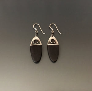 Vintage Earrings Sterling Silver and Ebony