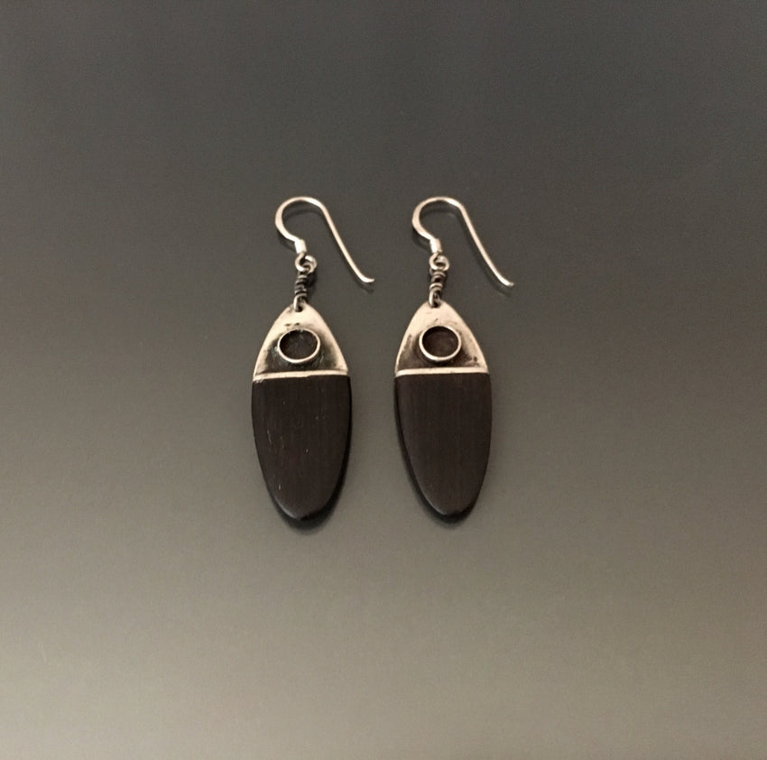 Vintage Earrings Sterling Silver and Ebony - JACK BOYD ART STUDIO and RON BOYD DESIGNS