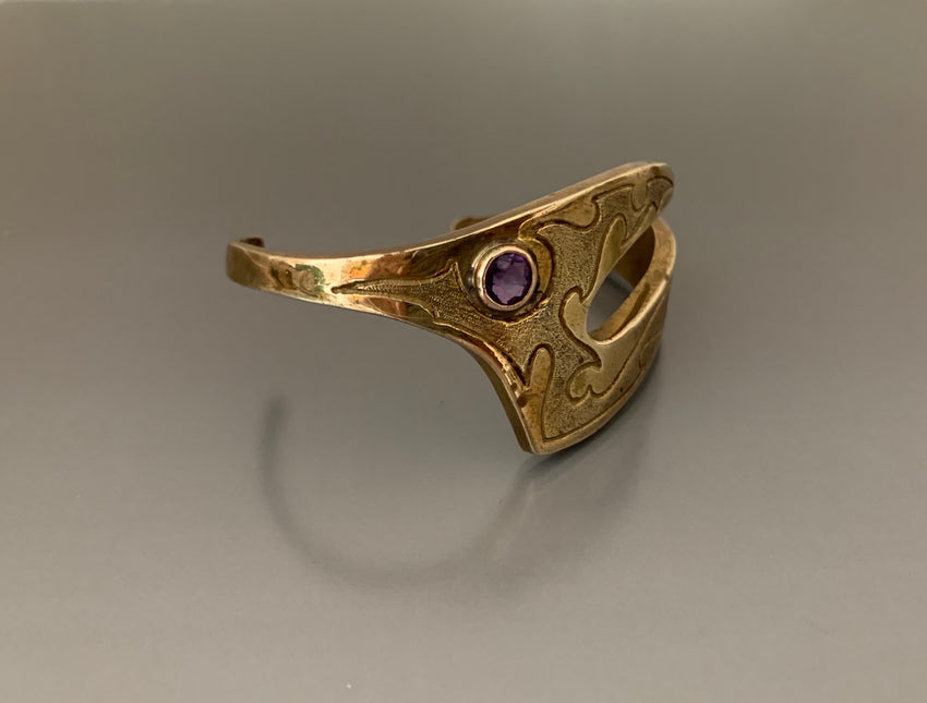 Vintage Bracelet Bronze with Amethyst by Jack Boyd