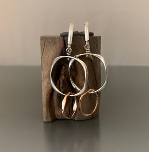 Sterling Silver and 14k Rose Gold Earrings