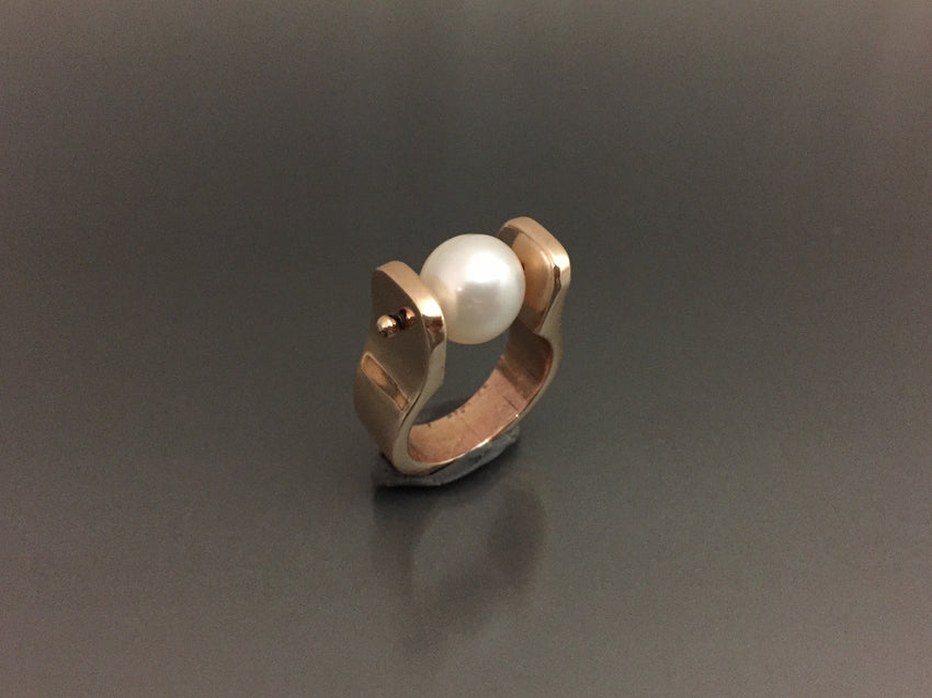 Bronze Ring with Large Pearl