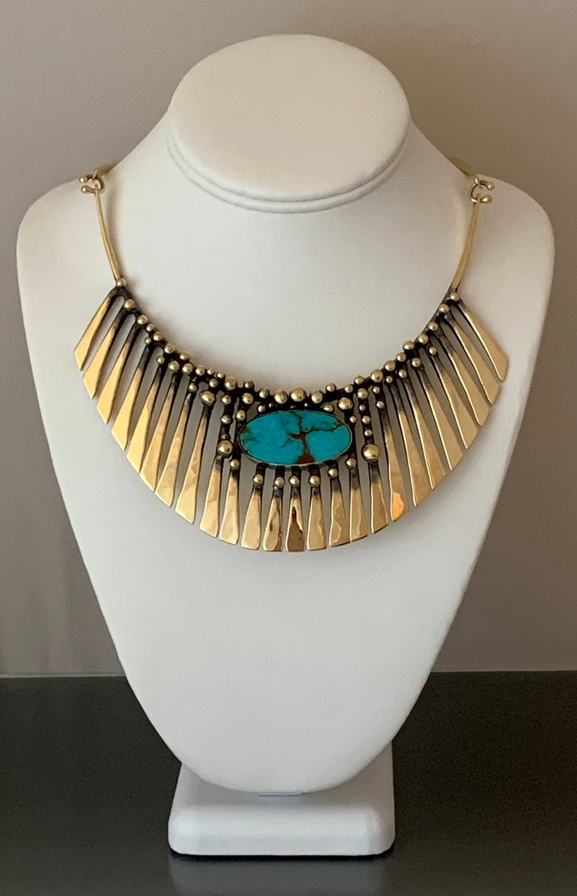 Bronze Turquoise Fan Necklace