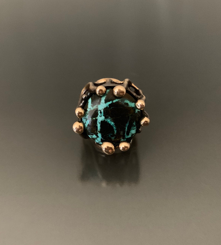 Ring Bronze Tree Branch Design with Blue Moon Turquoise