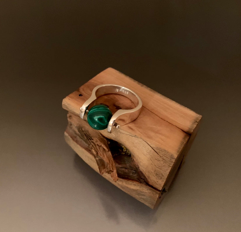 Ring Sterling Silver Malachite