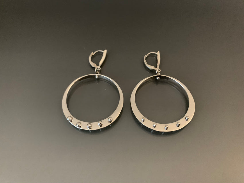 Earrings Sterling Silver with Peg Accent