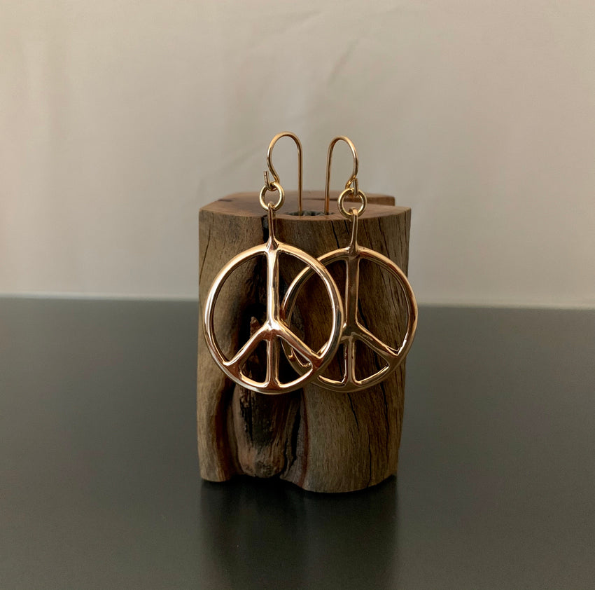 Earrings Bronze Peace Hoops Small