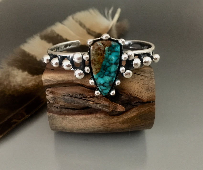 Sterling Silver cuff bracelet with tear drop Turquoise