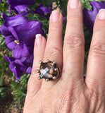 Carved Bronze Ring with Smokey Quartz - JACK BOYD ART STUDIO and RON BOYD DESIGNS