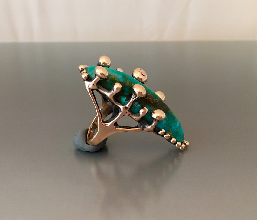 """Albelisaurus"" ring bronze and Kingman turquoise"
