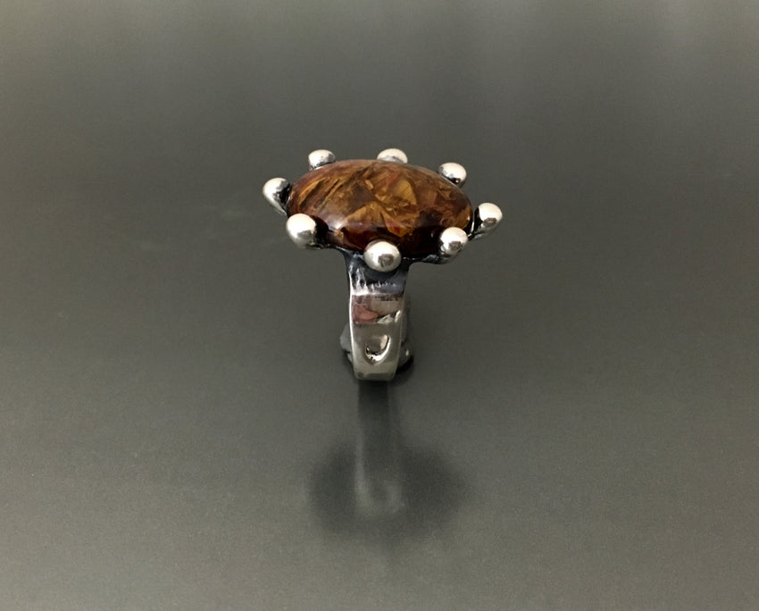 Pietersite Sterling Silver Ring - JACK BOYD ART STUDIO and RON BOYD DESIGNS
