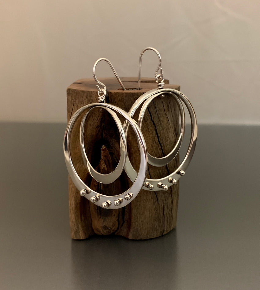 Sterling Silver Double Loop Earrings with Peg Accent