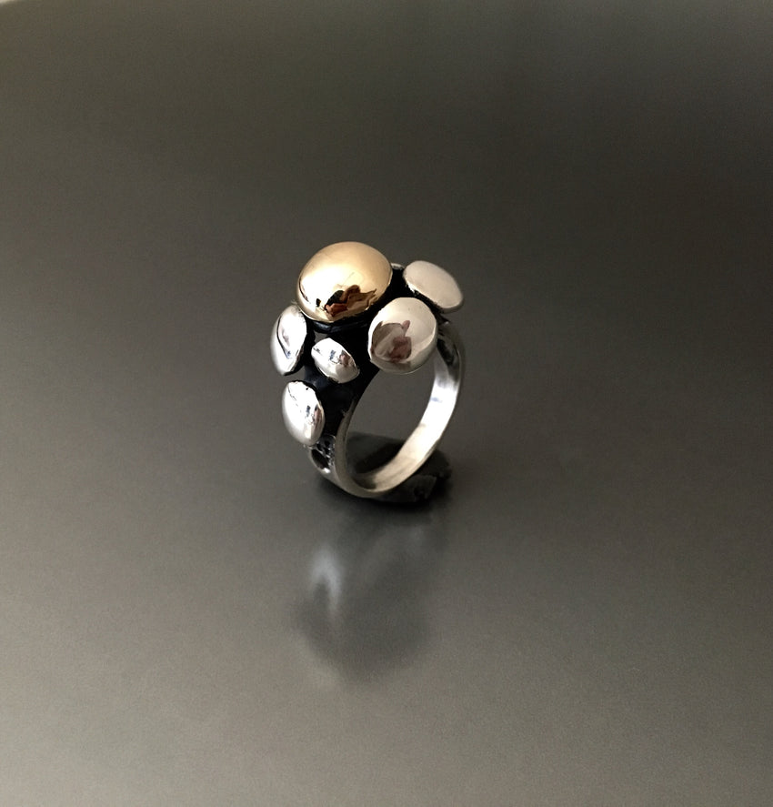 Sterling silver and 14k gold bubble ring