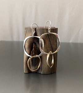 Sterling Silver square and bronze loop - JACK BOYD ART STUDIO and RON BOYD DESIGNS