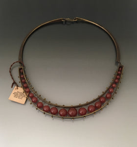 Vintage Necklace Carnelian and Bronze