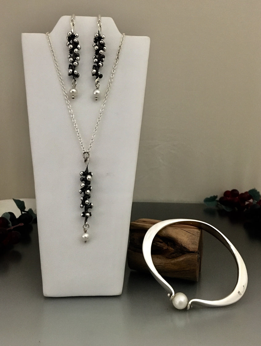 Collector's Sterling Silver Necklace, Earrings and Bracelet Set