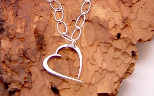 Necklace Sterling silver hand forged hearts on chain - JACK BOYD ART STUDIO and RON BOYD DESIGNS