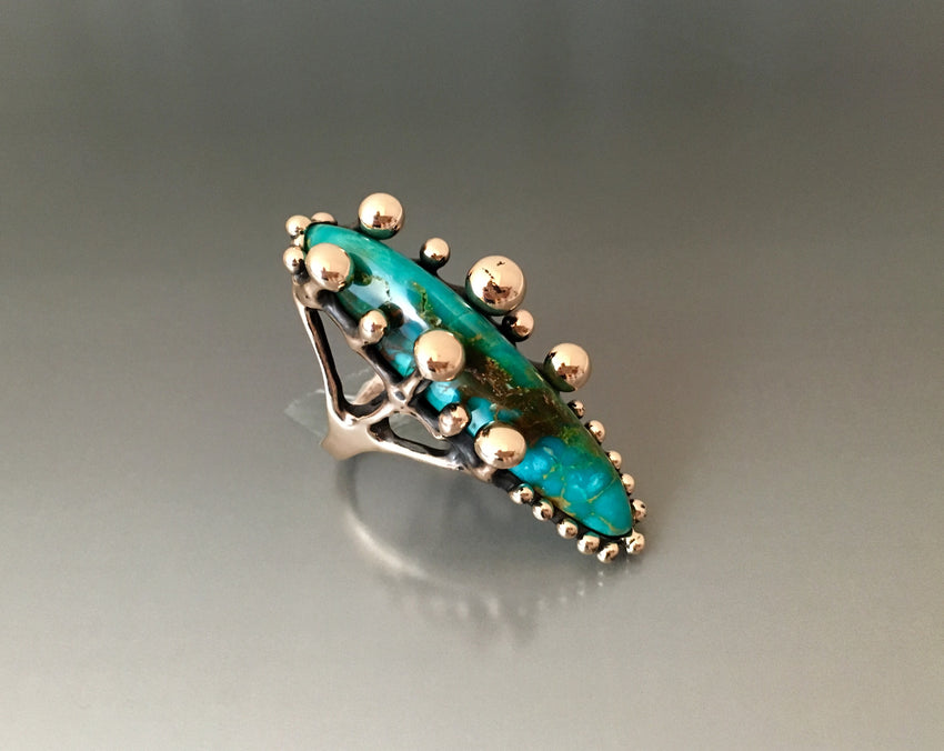 """Albelisaurus"" ring bronze and Kingman turquoise - JACK BOYD ART STUDIO and RON BOYD DESIGNS"