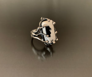 Ring Sterling Silver with White Buffalo Turquoise