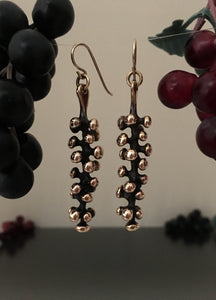 Grape Vine Bronze Dangle Earrings