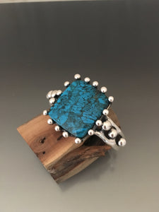 Cuff Bracelet Sterling Silver with Kingman Turquoise