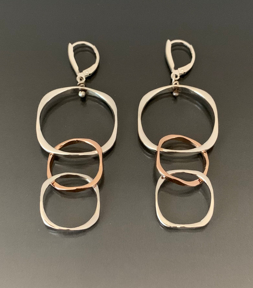 Earrings Sterling Silver and Rose Gold