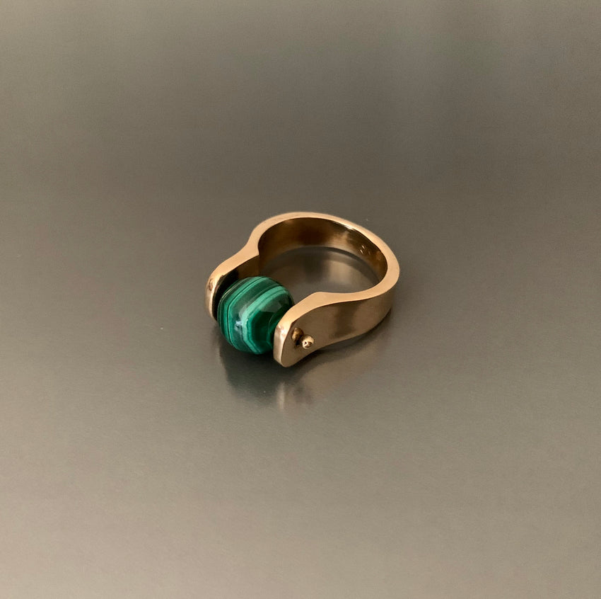 Ring Bronze with Large Malachite