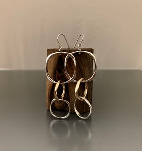 Earrings sterling silver and 14kgf Triple Dangle Loops