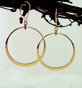 14k Solid Yellow Gold Medium Loop Earrings - JACK BOYD ART STUDIO and RON BOYD DESIGNS