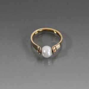 14k Solid Yellow Gold Ring with 6mm Pearl - JACK BOYD ART STUDIO and RON BOYD DESIGNS