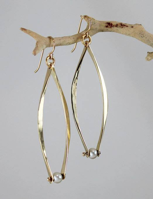 Bronze Dangles Earrings with Pearl - JACK BOYD ART STUDIO and RON BOYD DESIGNS
