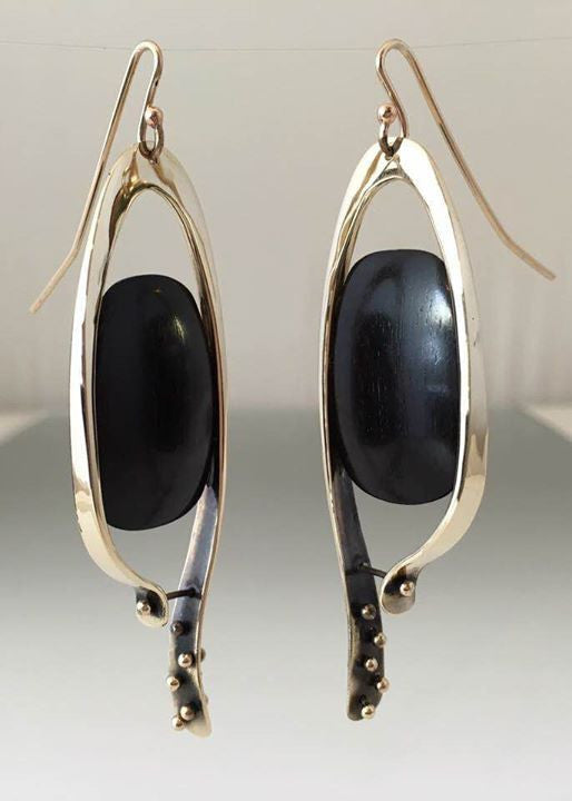 Bronze Earrings with Hand Carved Ebony Wood - JACK BOYD ART STUDIO and RON BOYD DESIGNS