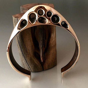 Bronze Large Gauge Cuff with Cut Out Accents - JACK BOYD ART STUDIO and RON BOYD DESIGNS