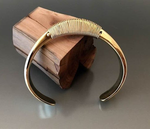 Bronze Large Gauge Cuff with Wire Wrap Accent - JACK BOYD ART STUDIO and RON BOYD DESIGNS