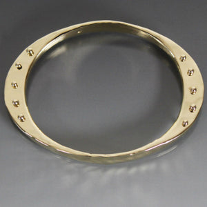 Bronze Large Gauge Oval Shape Bracelet with Peg Accent - JACK BOYD ART STUDIO and RON BOYD DESIGNS