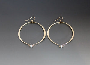 Bronze Large Oval Shape Loop Earrings with Pearl - JACK BOYD ART STUDIO and RON BOYD DESIGNS