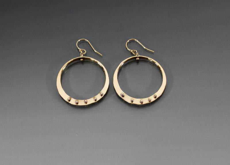 Bronze Loop Earrings with Peg Accent - JACK BOYD ART STUDIO and RON BOYD DESIGNS