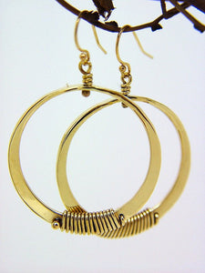Bronze Medium Loop Earrings with Wire Wrap Accent - JACK BOYD ART STUDIO and RON BOYD DESIGNS