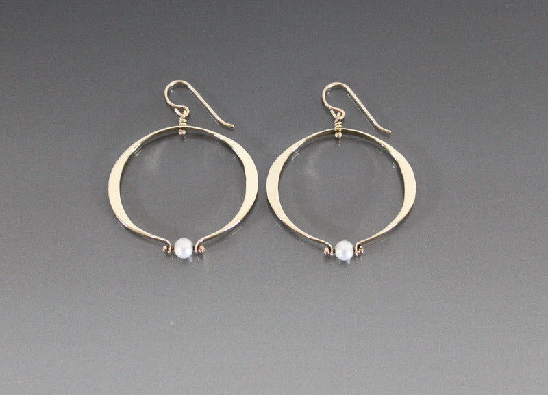 Bronze Medium Loop Oval Shape Earrings with Pearl - JACK BOYD ART STUDIO and RON BOYD DESIGNS