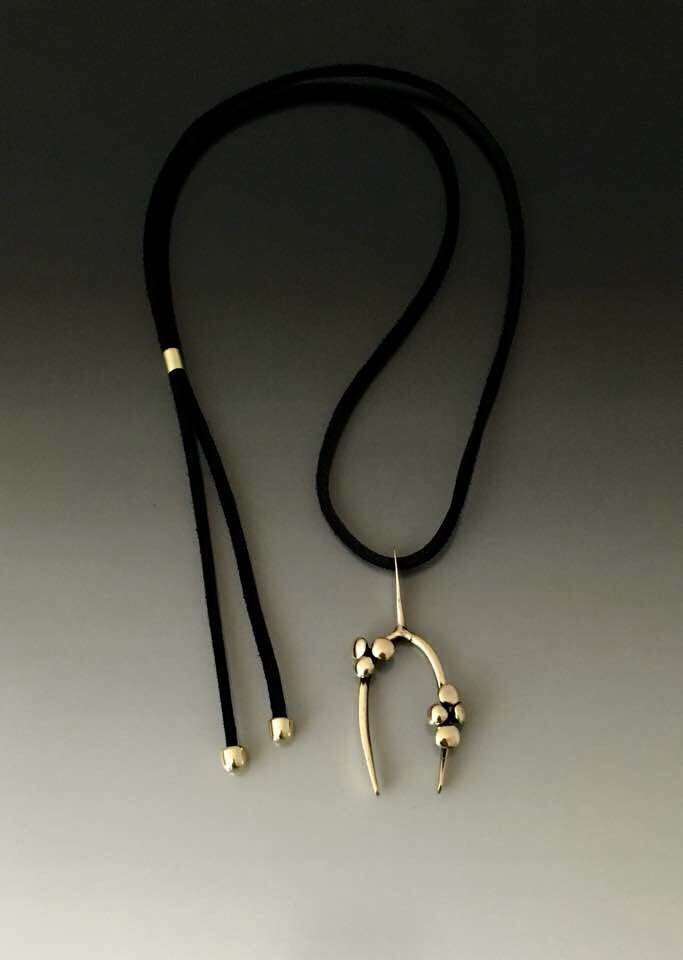 Bronze Necklace Wish Bone Pendant - JACK BOYD ART STUDIO and RON BOYD DESIGNS