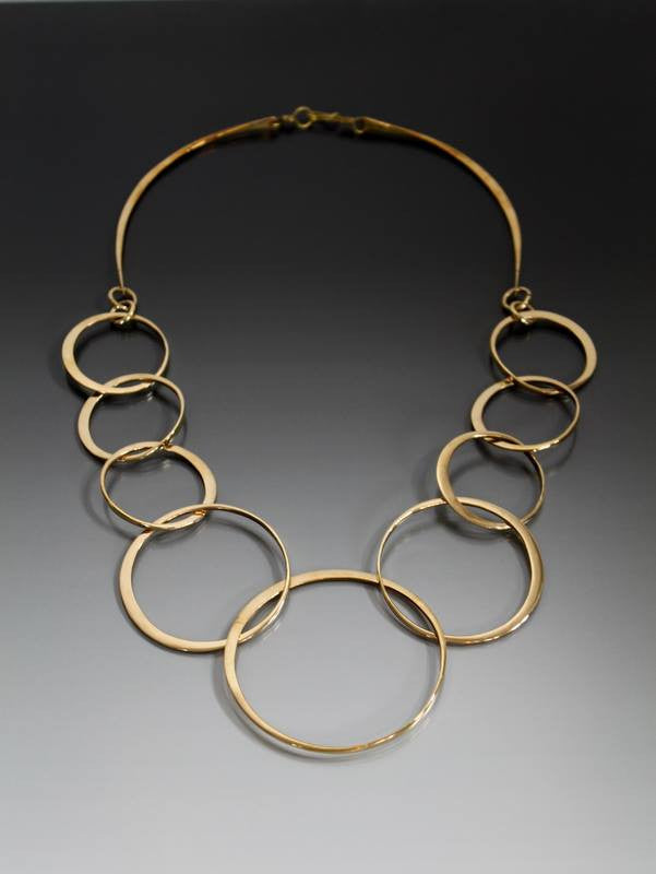 Bronze Necklace with Interlocking Loops - JACK BOYD ART STUDIO and RON BOYD DESIGNS