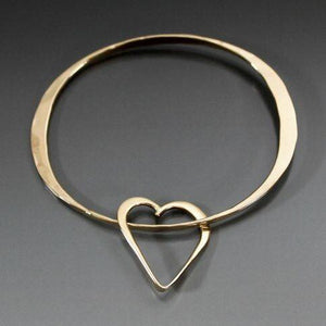Bronze Oval Shape Bracelet with Heart Dangle - JACK BOYD ART STUDIO and RON BOYD DESIGNS