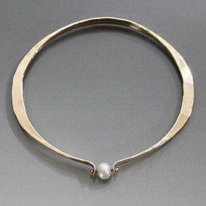 Bronze Oval Shape Bracelet with Pearl - JACK BOYD ART STUDIO and RON BOYD DESIGNS
