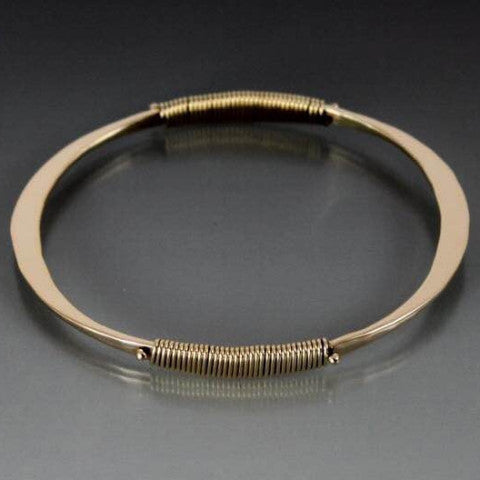 Bronze Oval Shape Bracelet with Wire Wrap Accent - JACK BOYD ART STUDIO and RON BOYD DESIGNS