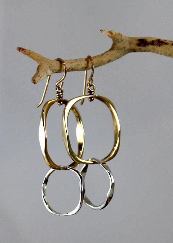 Bronze Small Square Earrings with Sterling Silver Small Loop - JACK BOYD ART STUDIO and RON BOYD DESIGNS