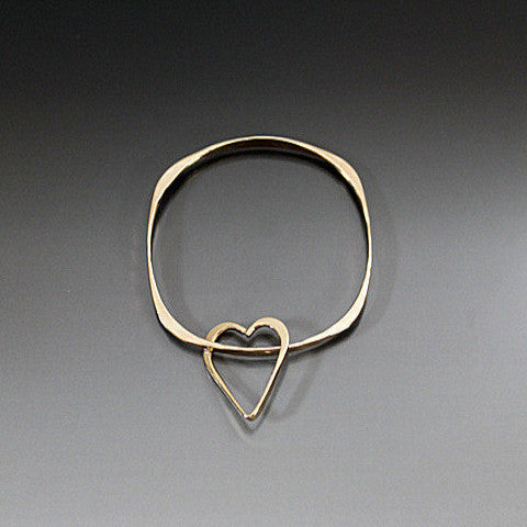 Bronze Square Shape Bracelet with Heart Dangle - JACK BOYD ART STUDIO and RON BOYD DESIGNS