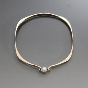 Bronze Square Shape Bracelet with Pearl - JACK BOYD ART STUDIO and RON BOYD DESIGNS