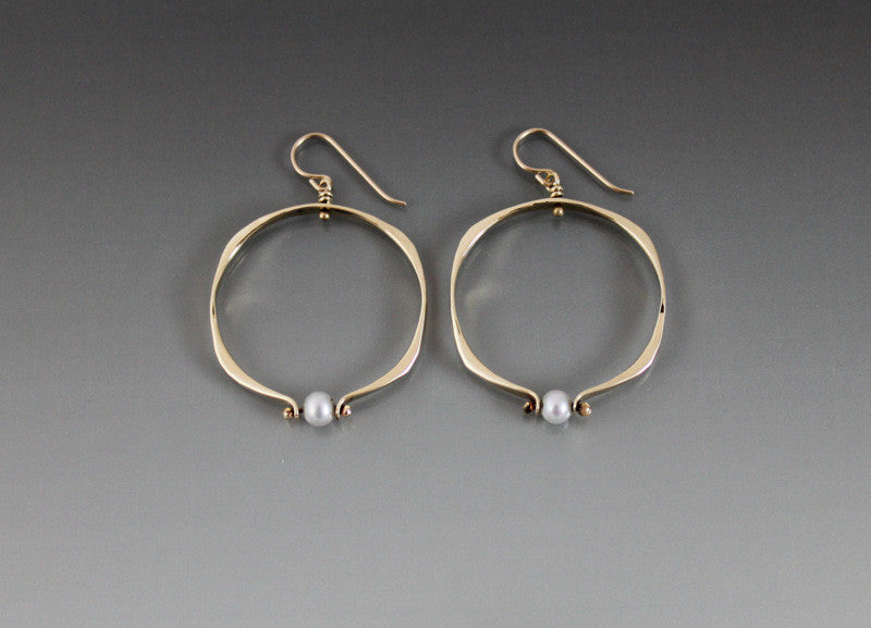 Bronze Square Shape Medium Loop Earrings with Pearl - JACK BOYD ART STUDIO and RON BOYD DESIGNS