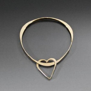 Bronze Triangle Shape Bracelet with Heart Dangle - JACK BOYD ART STUDIO and RON BOYD DESIGNS