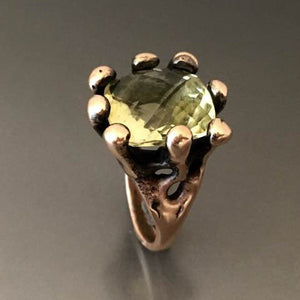 Carved Bronze Ring with Lemon Quartz - JACK BOYD ART STUDIO and RON BOYD DESIGNS